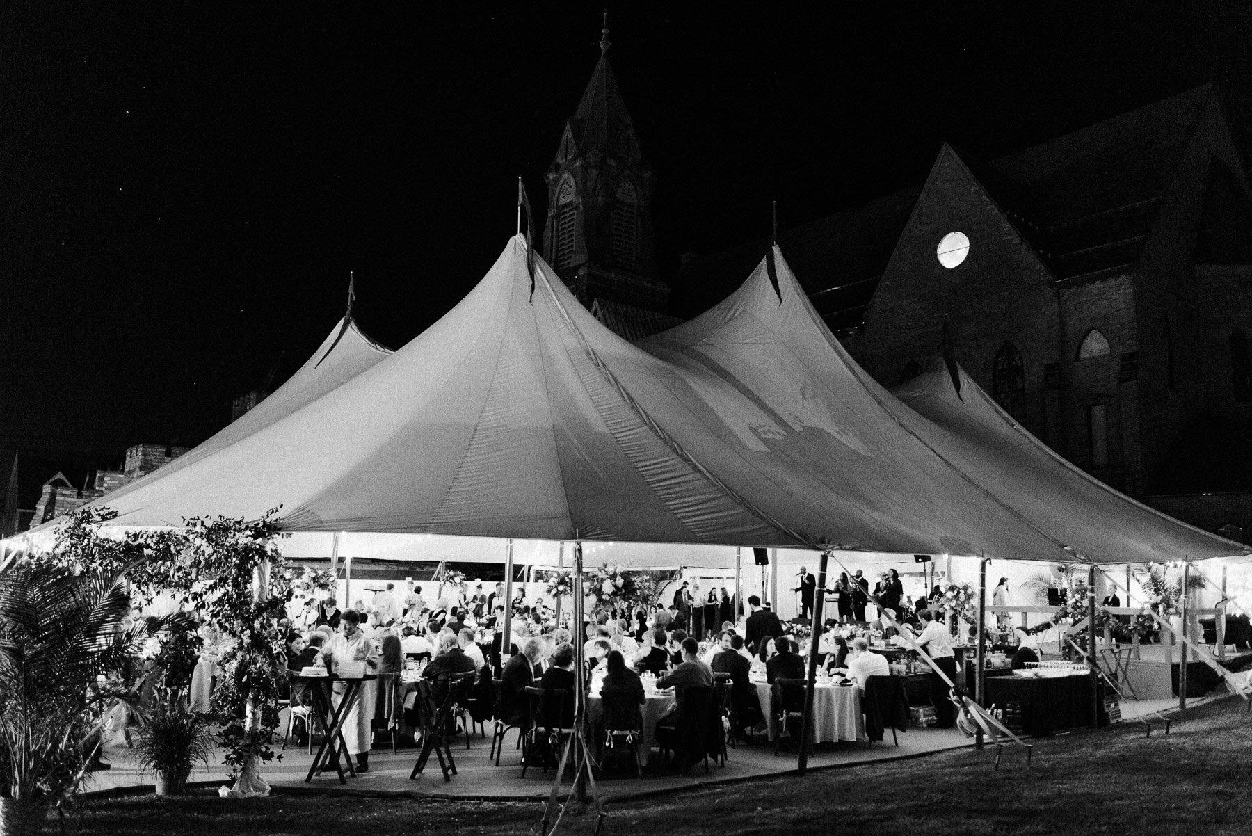 Sailcloth tent wedding reception Adelphi Hotel Wedding Saratoga Springs NY