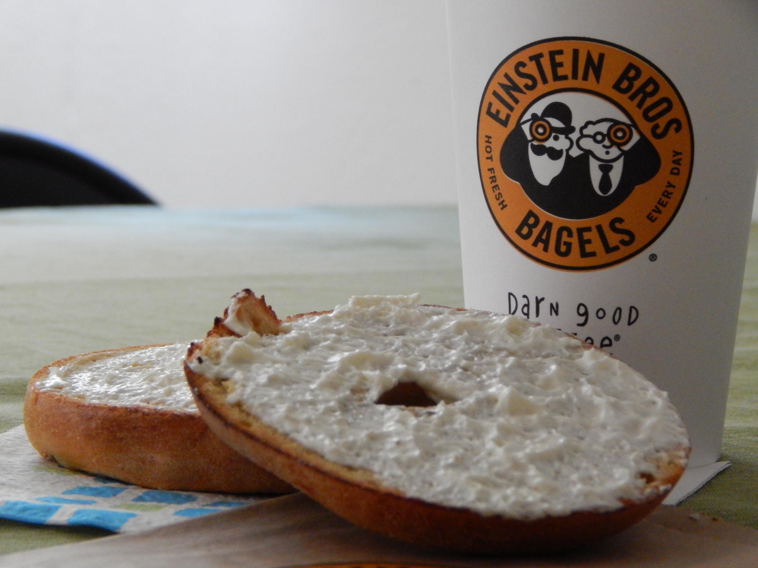 Einstein Bagel's pumpkin bagel with cream cheese.