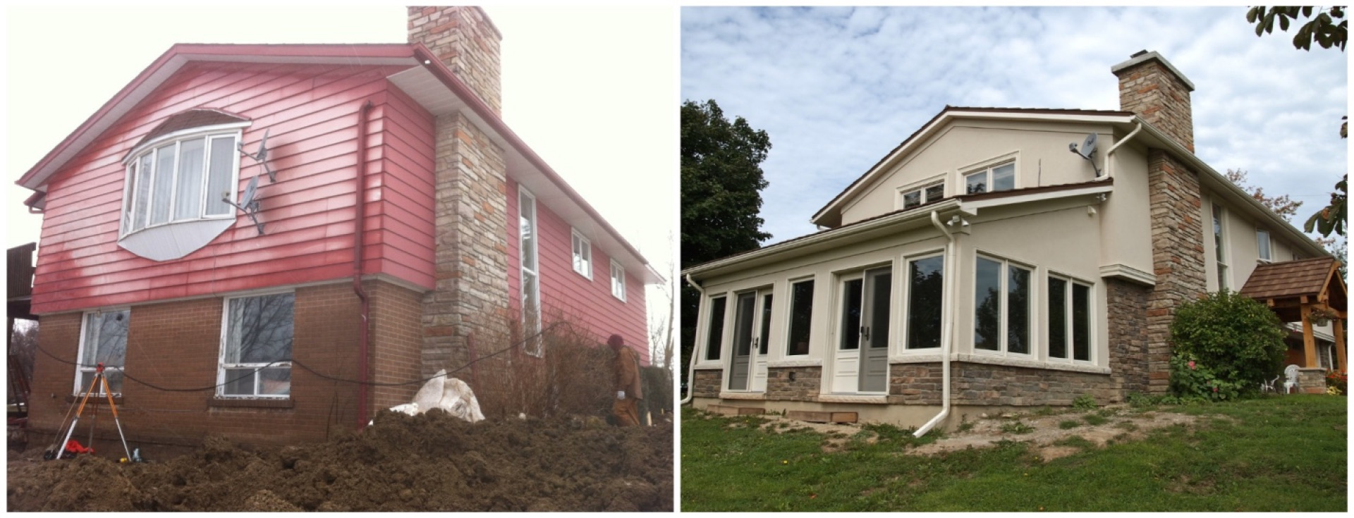 Before and after sunroom addition stucco.jpg