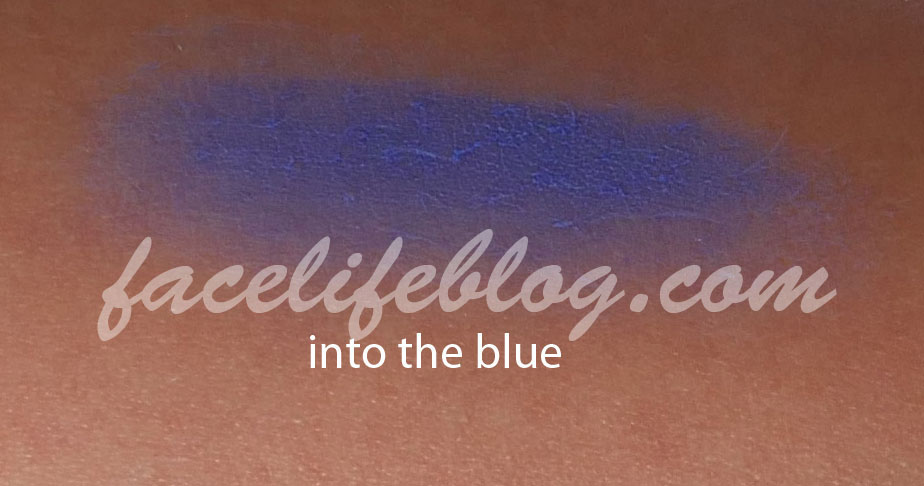 """Into the blue is described as a """"cobalt matte"""" shade.I initially found this shade a little chalky but I've used it to line my eyes and it applies better than on my arm"""