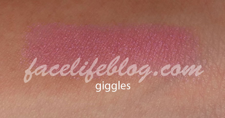 """Giggles is another color that would be good for Mardi Gras (after all, this palette is the """"fun"""" one). This shadow is a fuchsia shimmer that will keep those girls who love pink quite happy."""