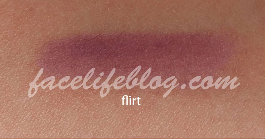 Flirt is an eggplant matte that would be good to line the eyes or as a crease shade. You can also use this as a base for purple smoky eye.