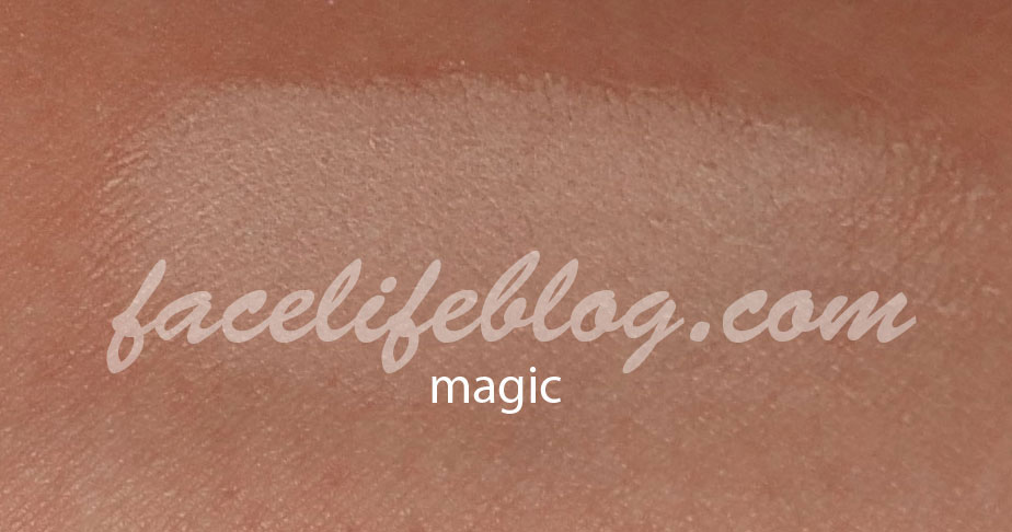 Magic is an ivory matte and would be good as a brow bone highlight for me. I can see a lot of girls with lighter complexions using this as a base. I may even be able to use this as a base during the winter months when my skin is a little lighter.
