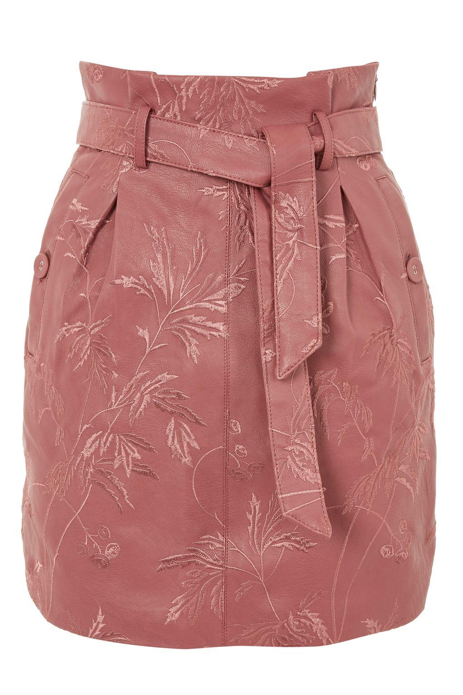 Topshop Embroidered Paperbag Mini Skirt