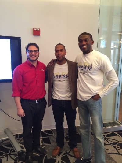 Pictured: (left to right) Vic Flores - Capital One 360 Cafe Chicago manager, Jaleni Thompson and Femi Faoye - D.R.E.A.M. Co-Founders. 4/26/14 after our first Financial Empowerment: 101 session in Chicago, IL