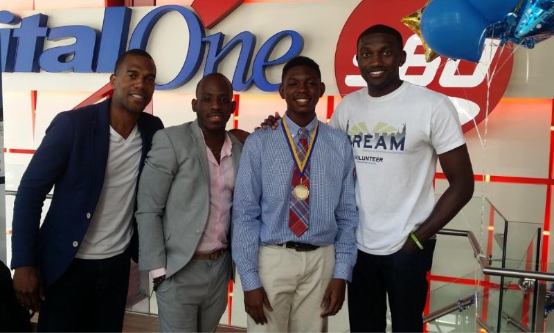 Pictured: (left to right) Jaleni Thompson - Co-Founder, Sylvester Rembert - Advisory Board Member, Rayvon Dorsett - Invest-in-Success Scholar, Femi Faoye - Co-Founder