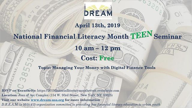 Register NOW for our 2019 National Financial Literacy Month Teen Seminar. Join us for a day and experience the Invest in Success program. The event is FREE! Link in bio.  #NFLM #financialliteracy #DREAMUSA #personalfinance #April #Money #Teens #Events #Savings #Budgeting #moneymanagement #NYC #DREAMNYC