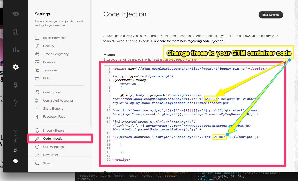 How to do a code injection in Squarespace. After saving this, you should see the GTM script is now injected under the body tag.