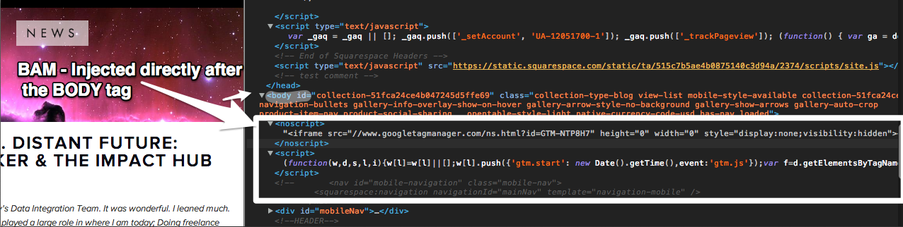 Inspecting the element in Chrome, you can see the script was injected successfully below the body tag.