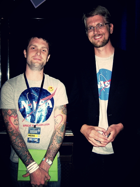 Chris  and  Jeff.  Guess which one of us programs Space missions, and which one of us  'just has the shirt' .