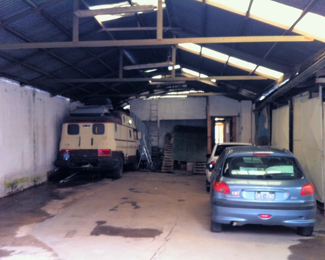 The 1970s motorhome in Mario's garage. In the cold, windy, stormy night it might as well have been the Ritz