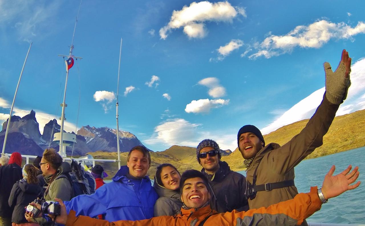 From the deck of the catamaran across Lago Pehoé: Keith, Pollo, Sergio, and Christóbal