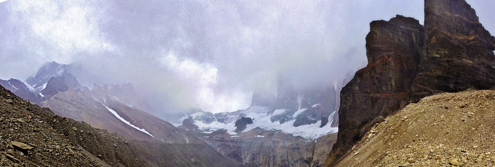 Torres del Paine...covered in snow clouds. Click for a larger version