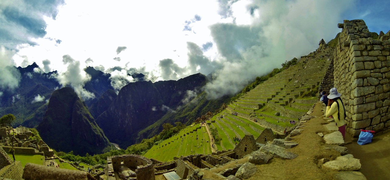 Terraces on Machu Picchu's north side.  These served as erosion buffers as well as microclimate-specific agricultural plots