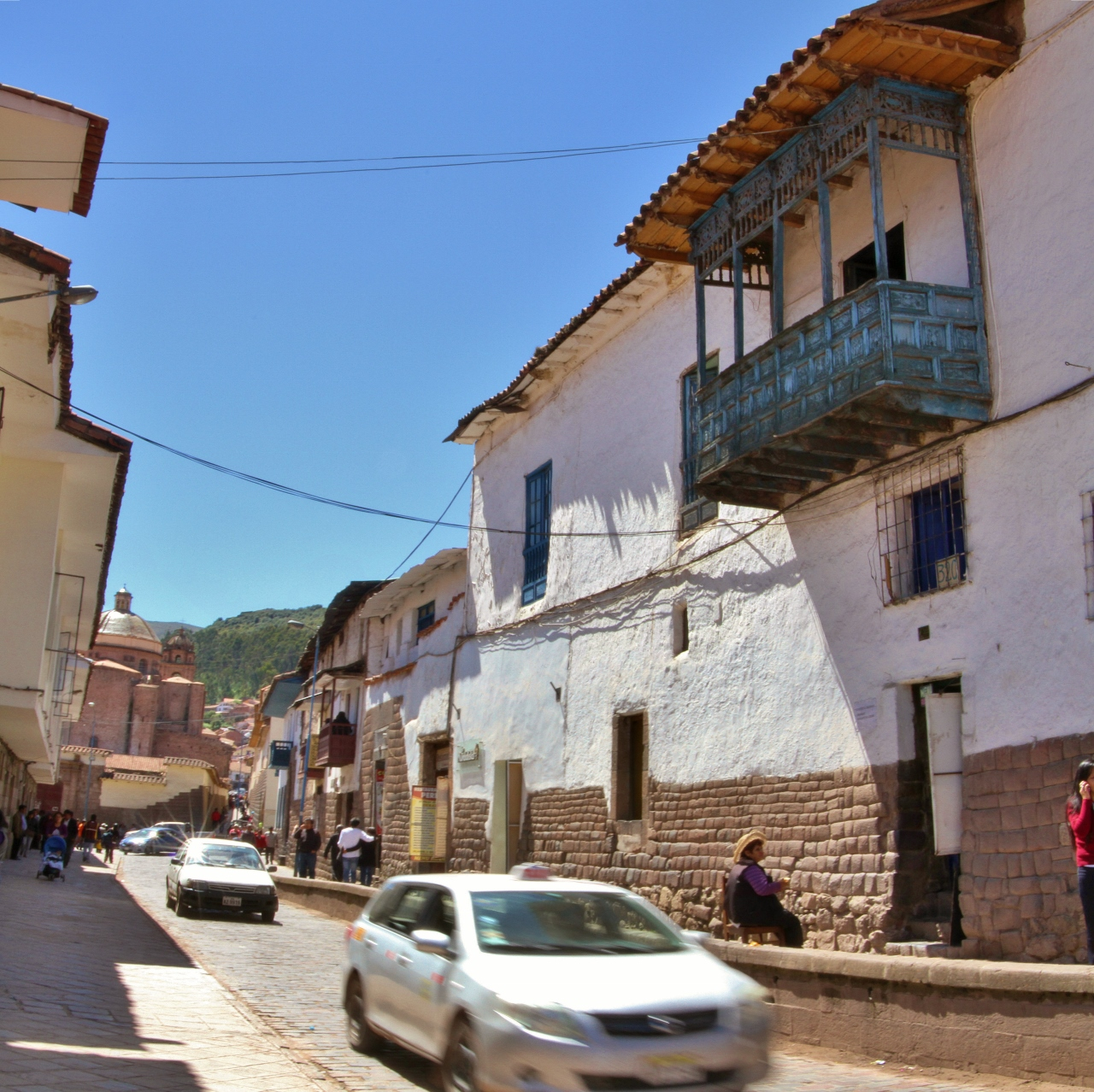 Typical Cusco street. You can see the Spanish colonial-style architecture atop indigenous-built foundations