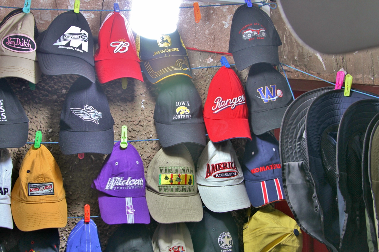 We came across one booth selling hats
