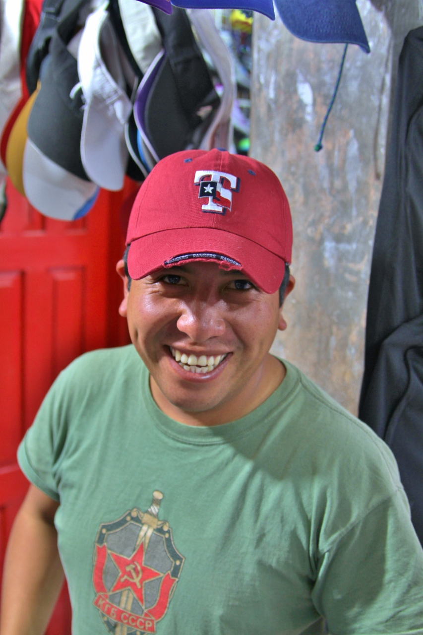 Miguel was in the market for a new ball cap, so I helped him pick out the coolest one (go Rangers!)