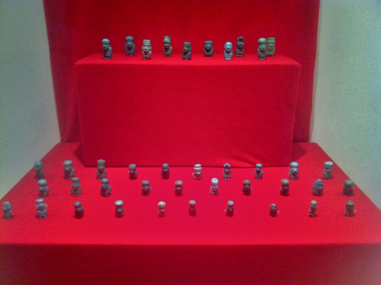 The museum had hundreds of these turquoise figurines. Each one had a distinct face, armor, and weapons, even though each figurine stood no taller than a quarter.