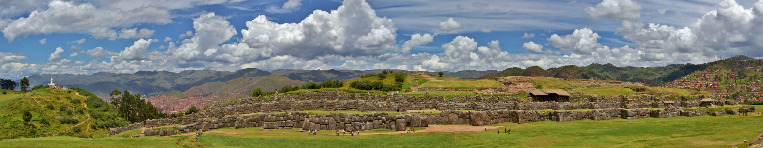 Saksaywaman, with downtown Cusco below and Cristo Blanco on the next hill over.  Click for full-size image