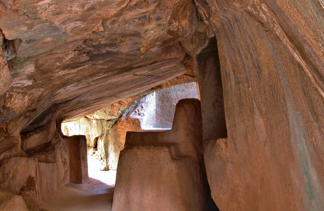 The Inca carved altars into this natural cave for sacrifices and mummification ceremonies