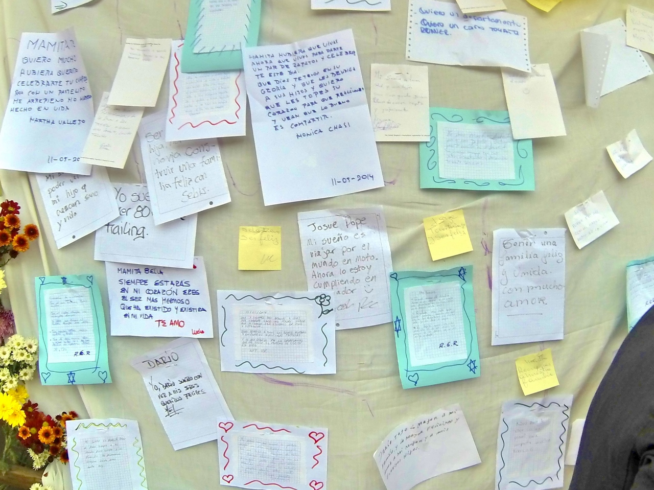 Found what looked like a wedding or family reunion in the park, but then I learned they were inviting anyone to write down your dream and post it to this wall