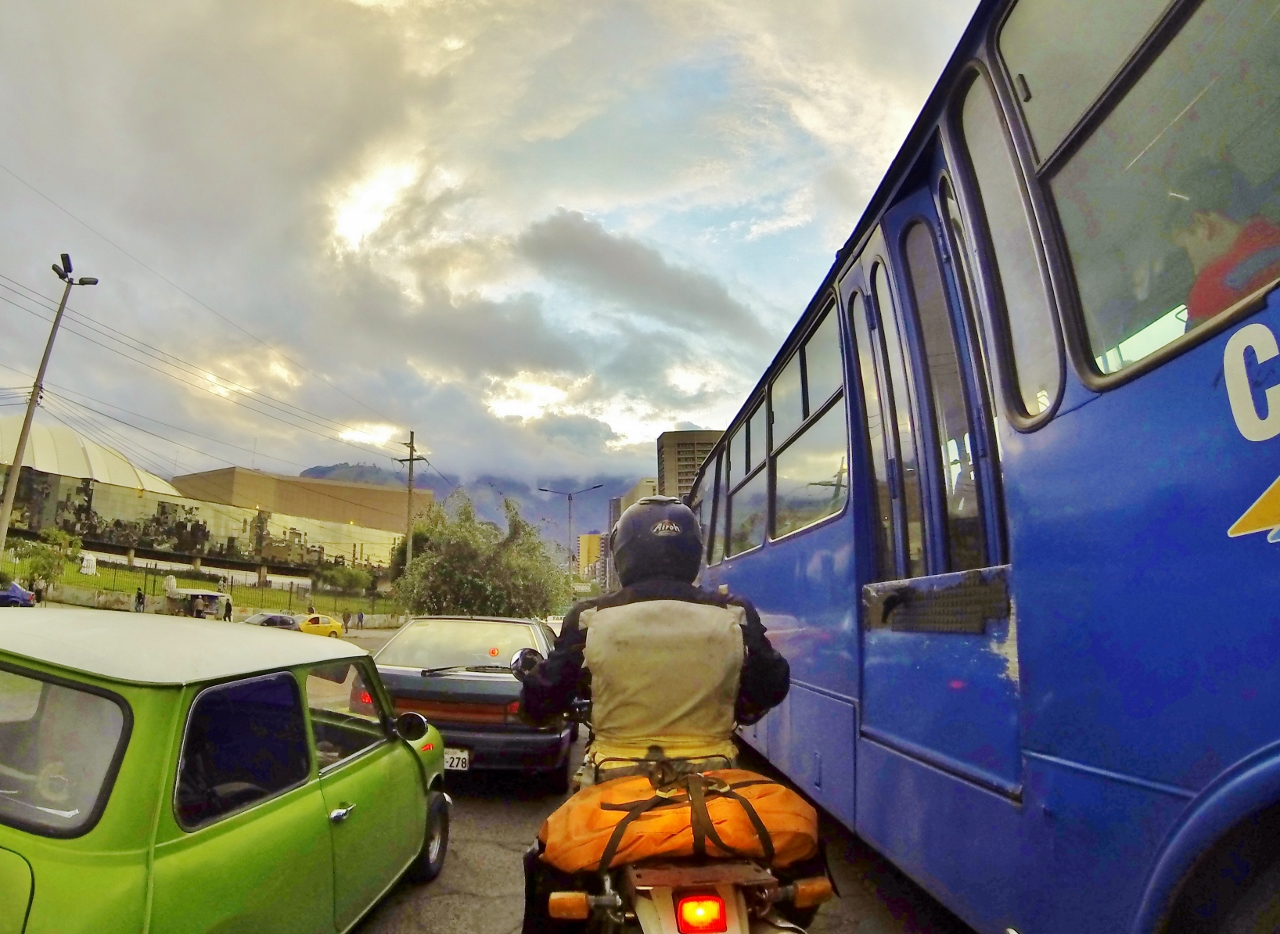 Rush hour traffic in Quito