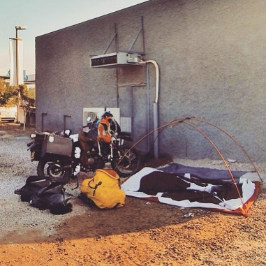 "#tbt ""Camping behind a gas station in Arica, on the Chile/Perú border"". This one goes out to anyone who ever had to rough it while out on the road and knows that real international travel isn't always as glamorous as our instagram accounts make it seem. Thanks as always to #Kawasaki, the #REI Half-Dome, and #Ortlieb for keeping me safe, dry, and comfy even in the most questionable campsites."