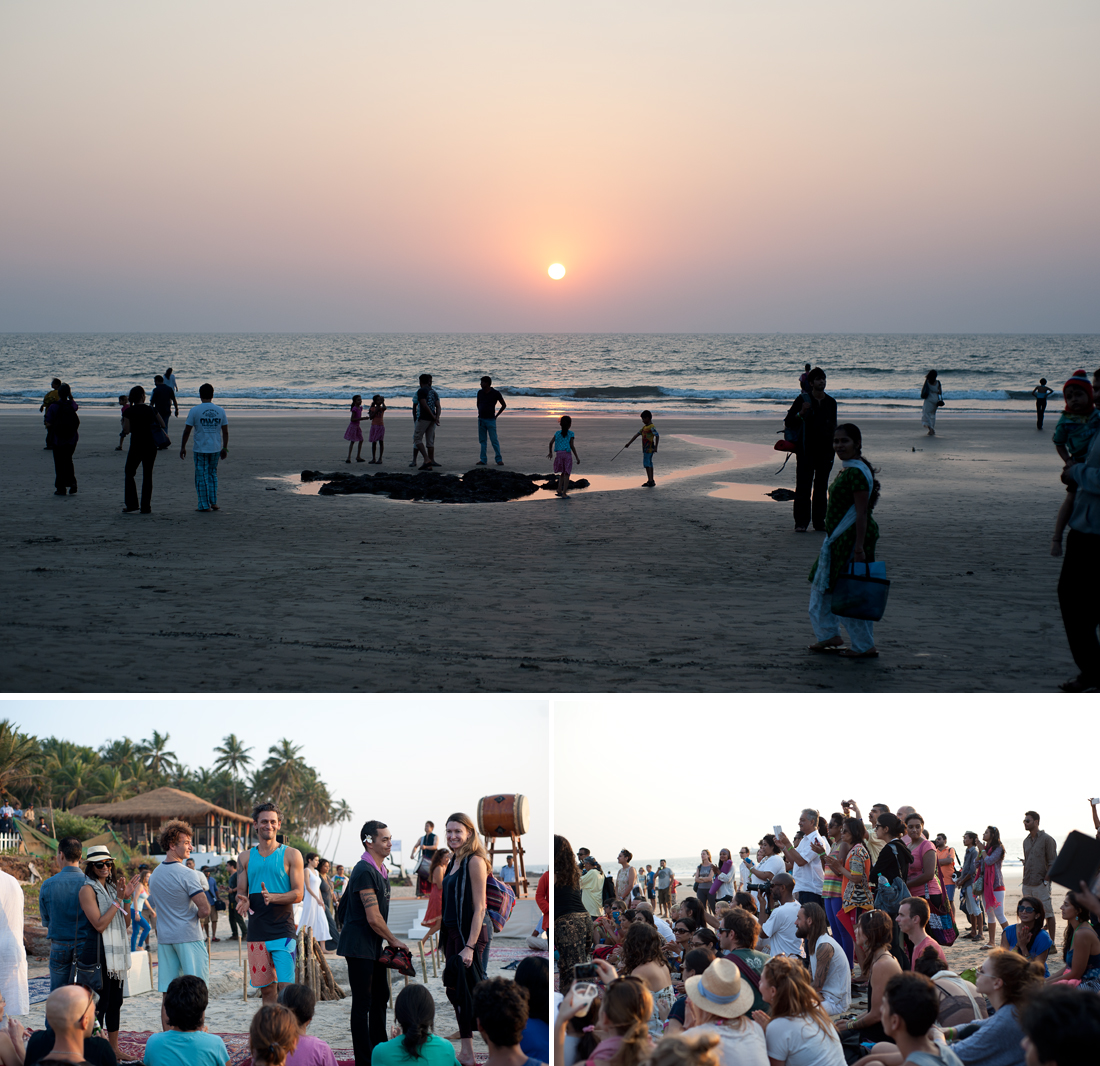 The final fire ceremony with yoga teachers, Ashvem Beach