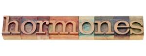 hormones word in letterpress type