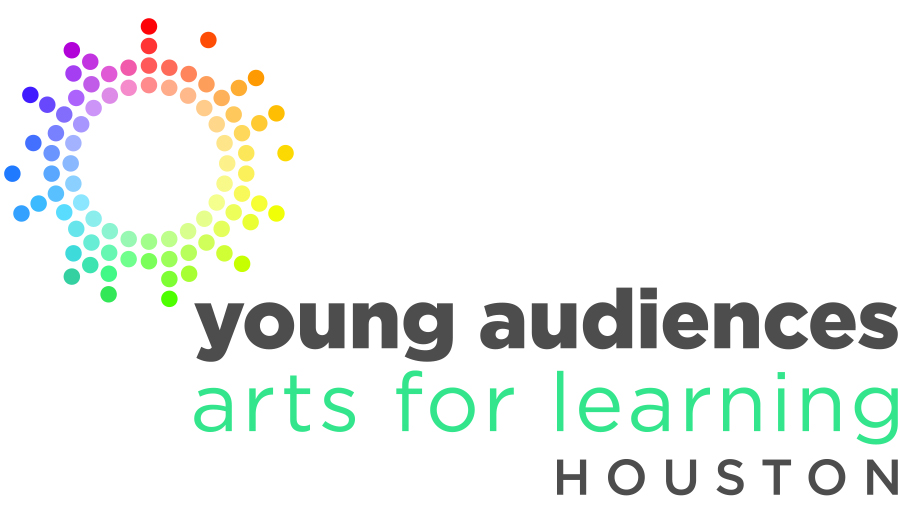 Logo for Young Audiences of Houston showing a sun made up of rainbow-colored dots