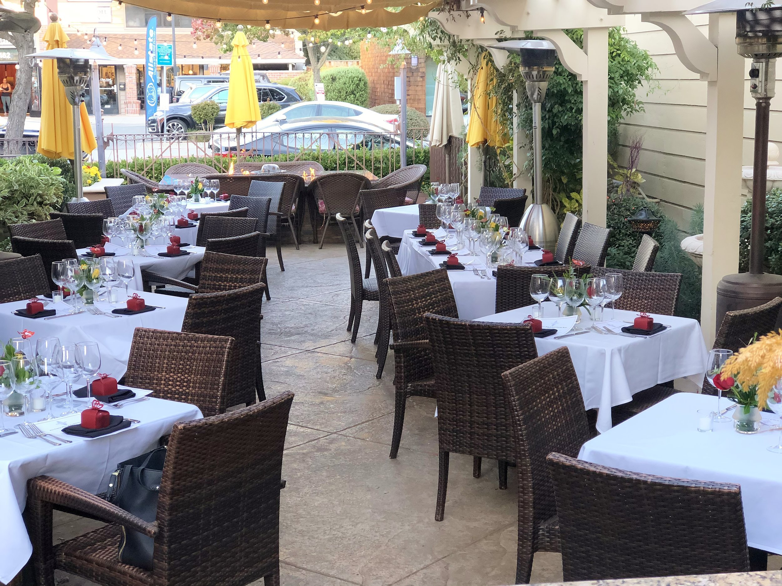 Garden patio set up for a private event