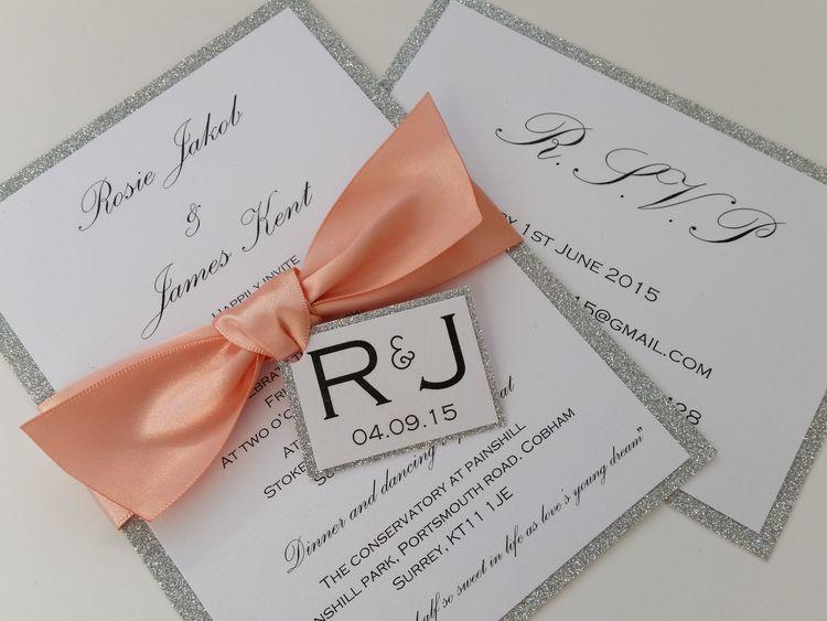 Rosie - silver glitter, satin ribbon bow wedding invitation with tag (3).jpg