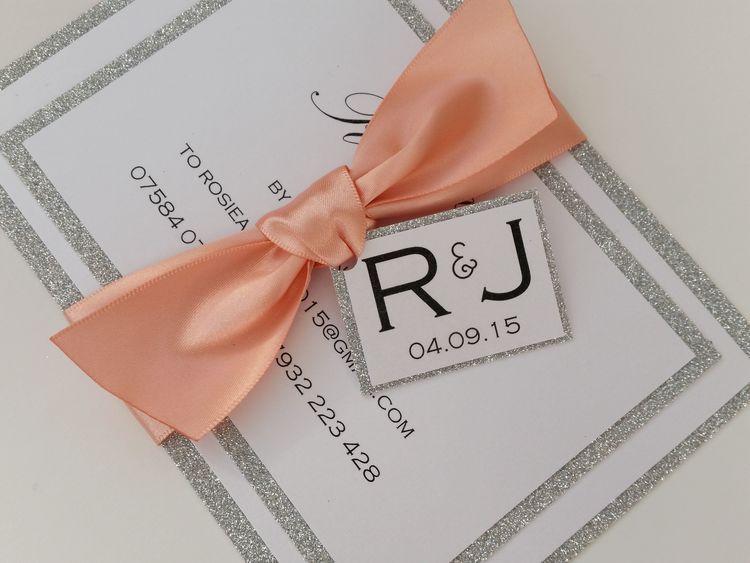 Rosie - silver glitter, satin ribbon bow wedding invitation with tag (4).jpg