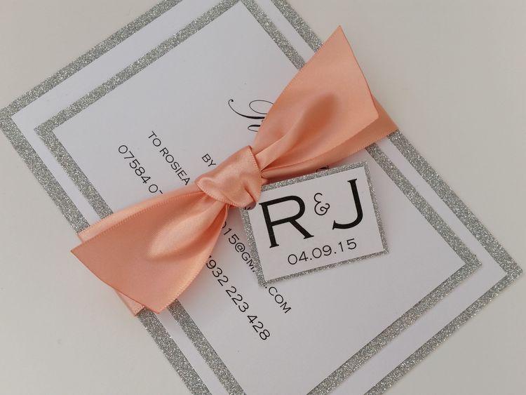 Rosie - silver glitter, satin ribbon bow wedding invitation with tag (5).jpg