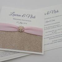 Kara - Champagne Glitter Pink Ribbon Embellishment Wedding Invitation.jpg