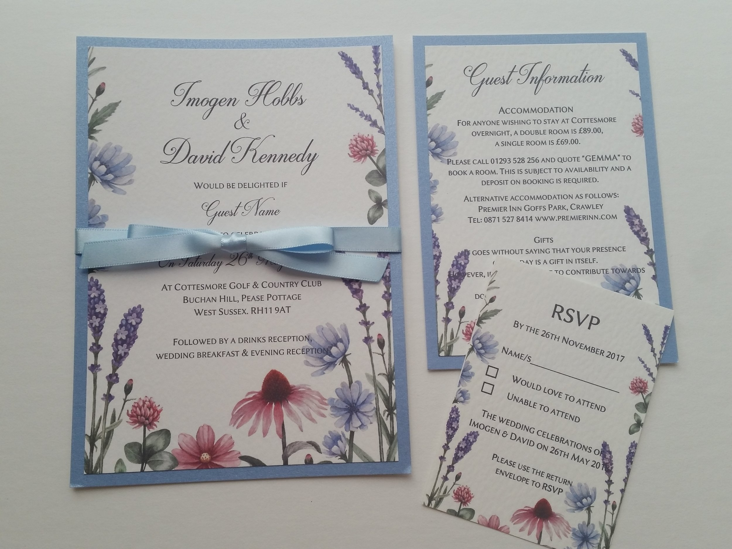 Lilac - rustic, handmade wedding invitation spring summer meadow wildflowers2.jpg