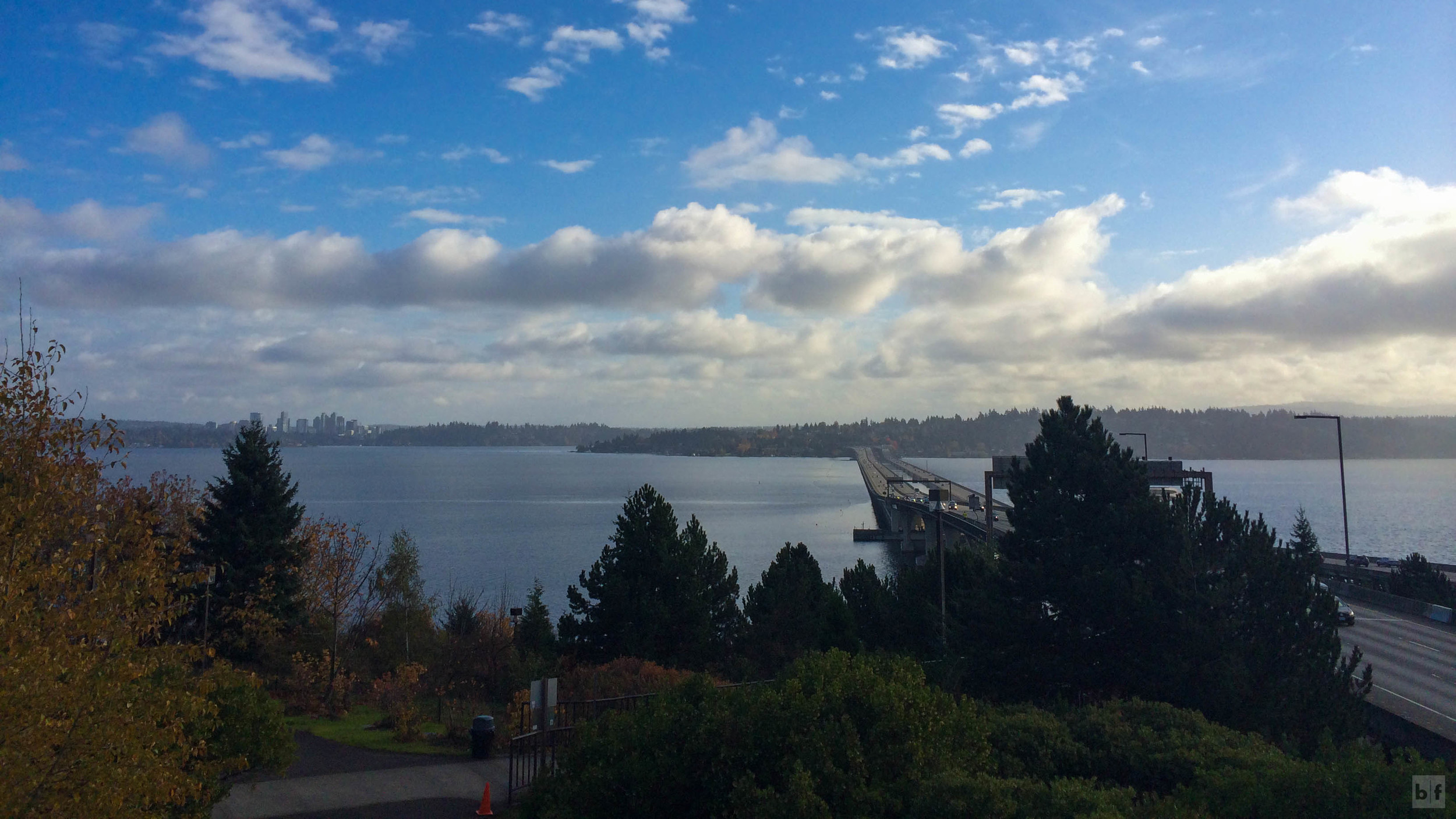 looking back towards Bellevue on the Seattle side of the I-90 bridge. Quite a different picture from Saturday.