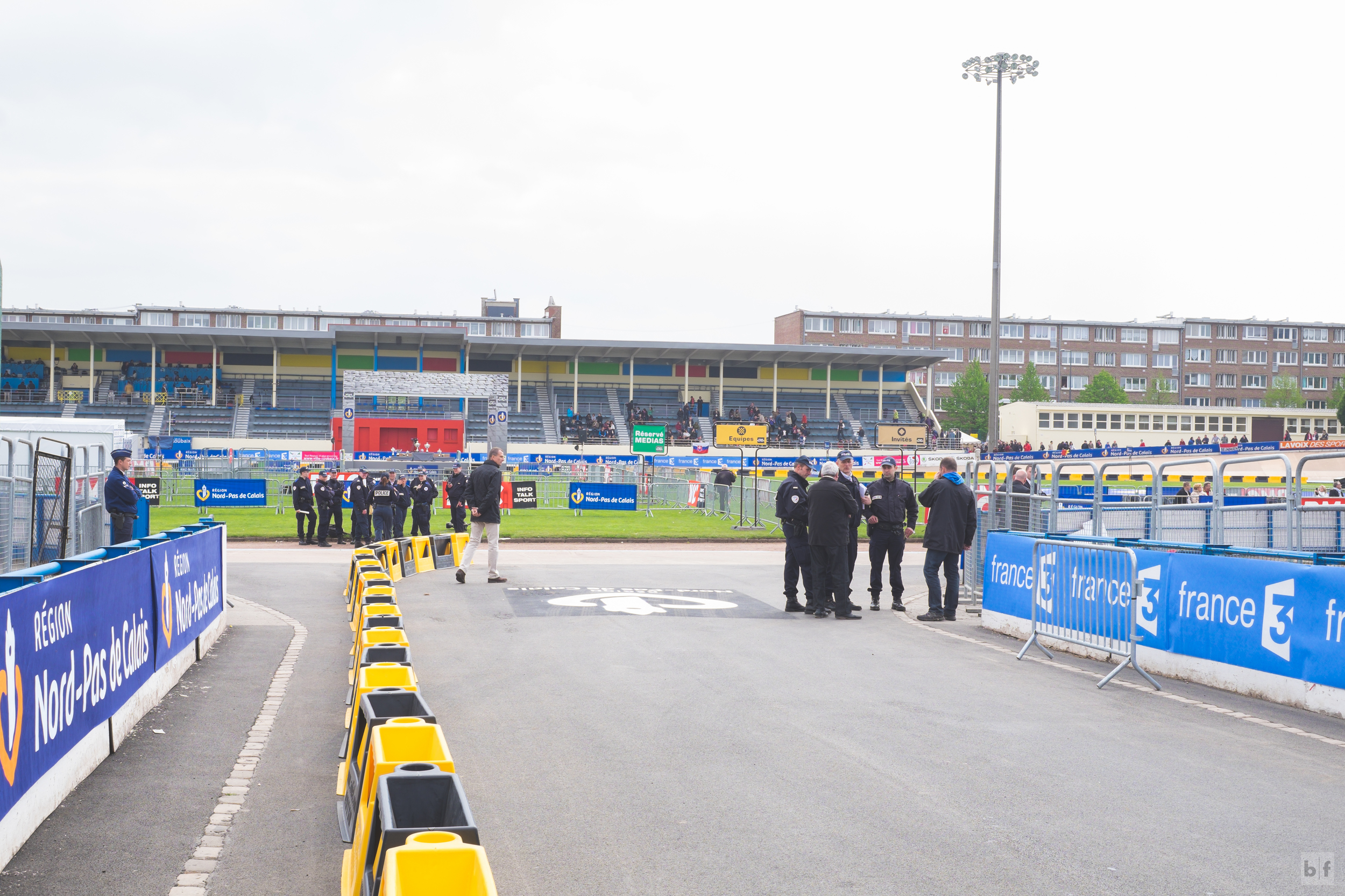 After riders make the final right hander off the cobbles they make their way here, the entrance to the velodrome.