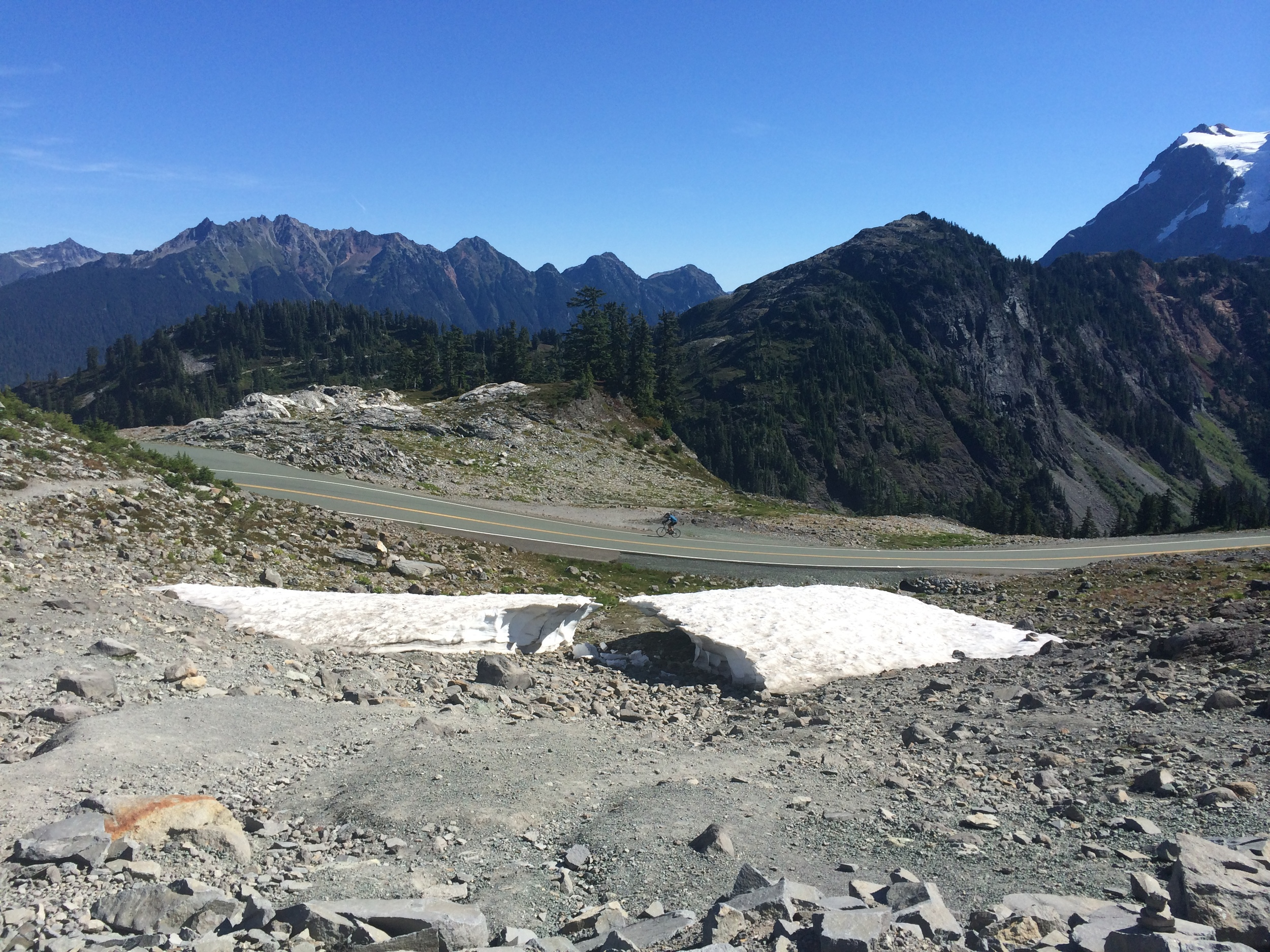 approaching the summit at artist point with a remaining hint of just how much snow falls here each season.