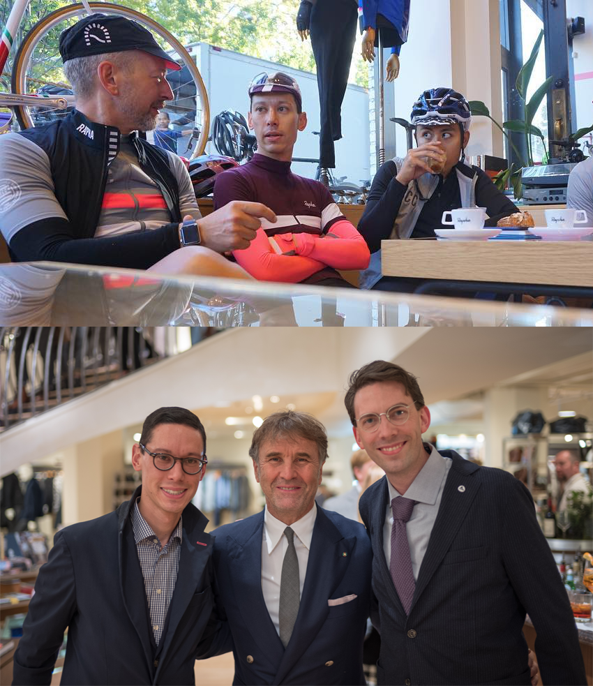 ICONS - In 2017, I got to meet not one, but TWO icons I admire. Simon Mottram (left, top photo), Founder and CEO of Rapha, was in town for a couple of days and I was lucky to not only ride with him but spend a bit of time chatting with him. Rapha changed the cycling game for me years ago and it was fun hearing Simon talk about building a brand and getting to do something he loved each and every day. I love stories where passion and drive come together to create something of value.I also got to meet Brunello Cucinelli (center, bottom picture), the founder of his namesake fashion house, Brunello Cucinelli. I was able to hear Cucinelli, an outspoken humanitarian, speak about empathy and compassion and our shared responsibility to leave this planet a better place for future generations by giving back and helping our communities. This vision is evident in his company. In interviews, he talks about his business practices and how he has rebuilt the community where Cucinelli is headquartered.