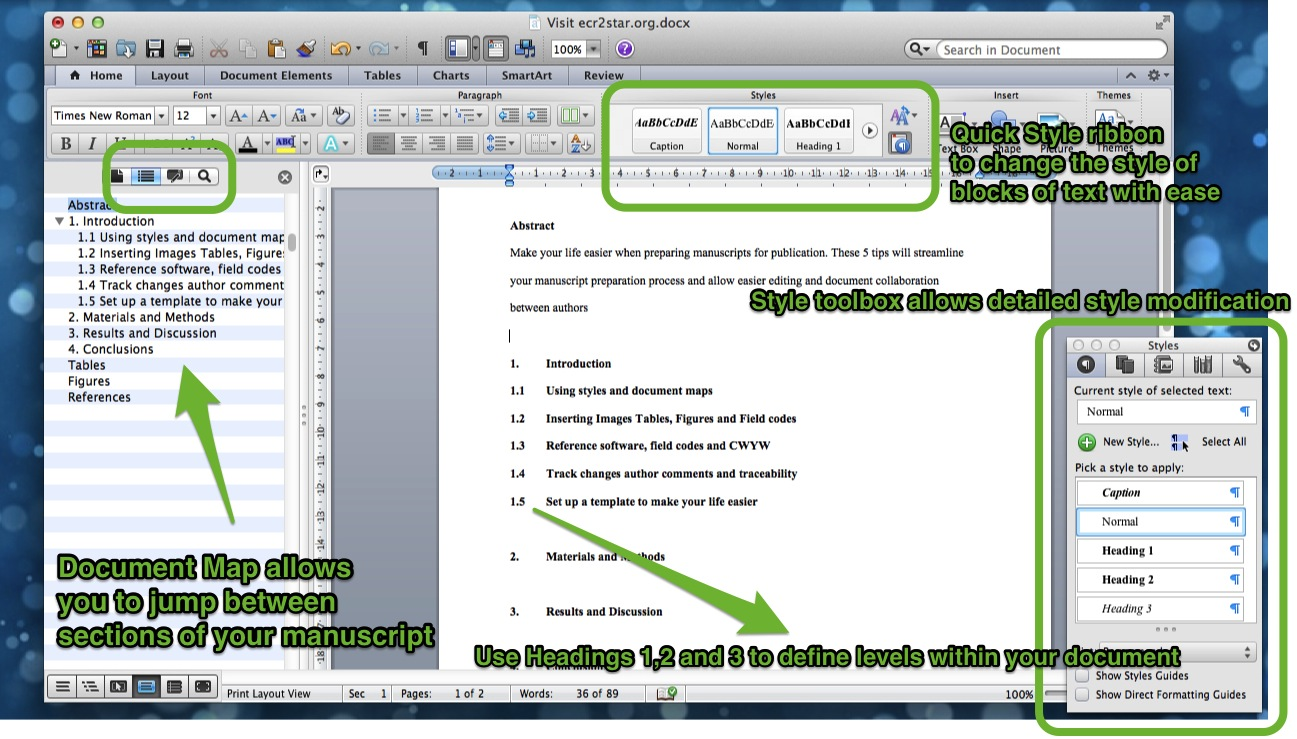 Using Styles in MS Word