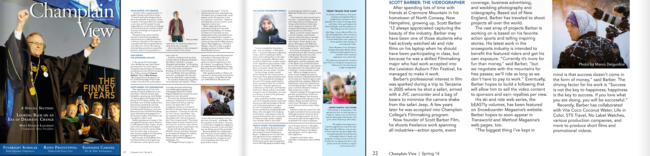 Feature in Spring 14' Issue of Champlain View