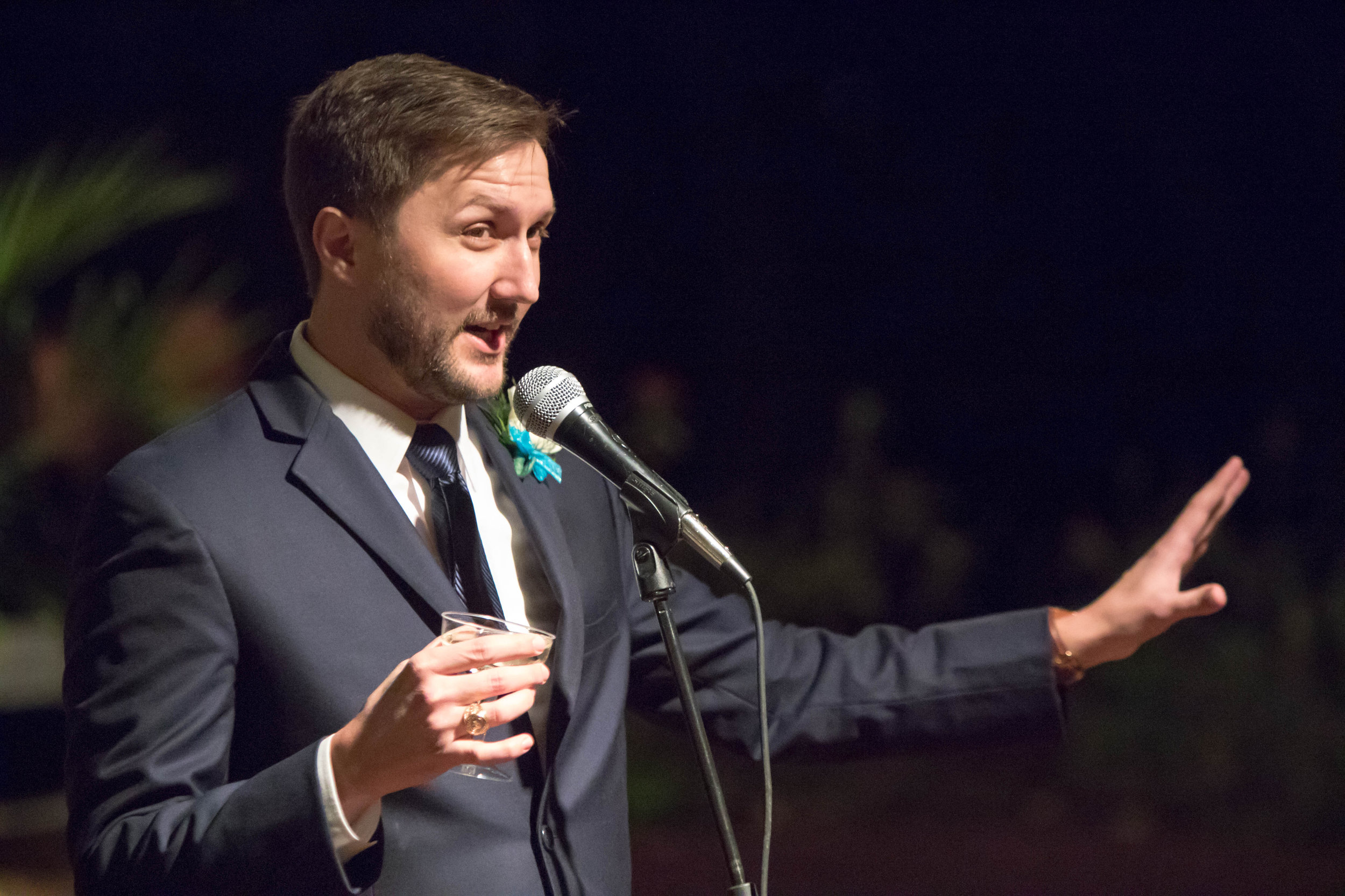 Clint Buck delivering Best Man speech at Hollis and Lindsey's wedding. San Antonio, TX February 2017