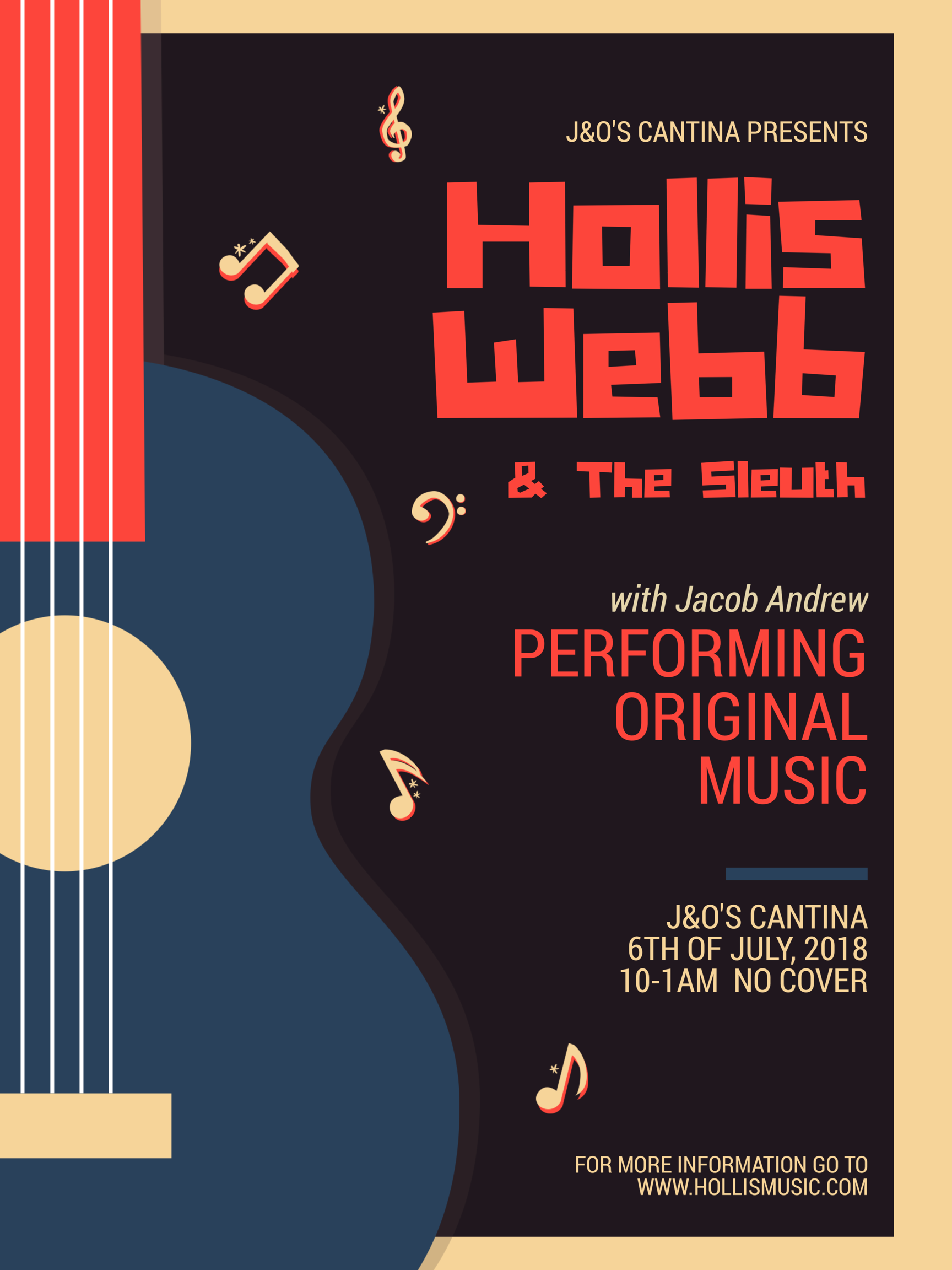 Come on down to the return of Hollis Webb & The Sleuth to J&O's Cantina which is BACK under the original ownership!  Come back home!  We're here to greet ya!