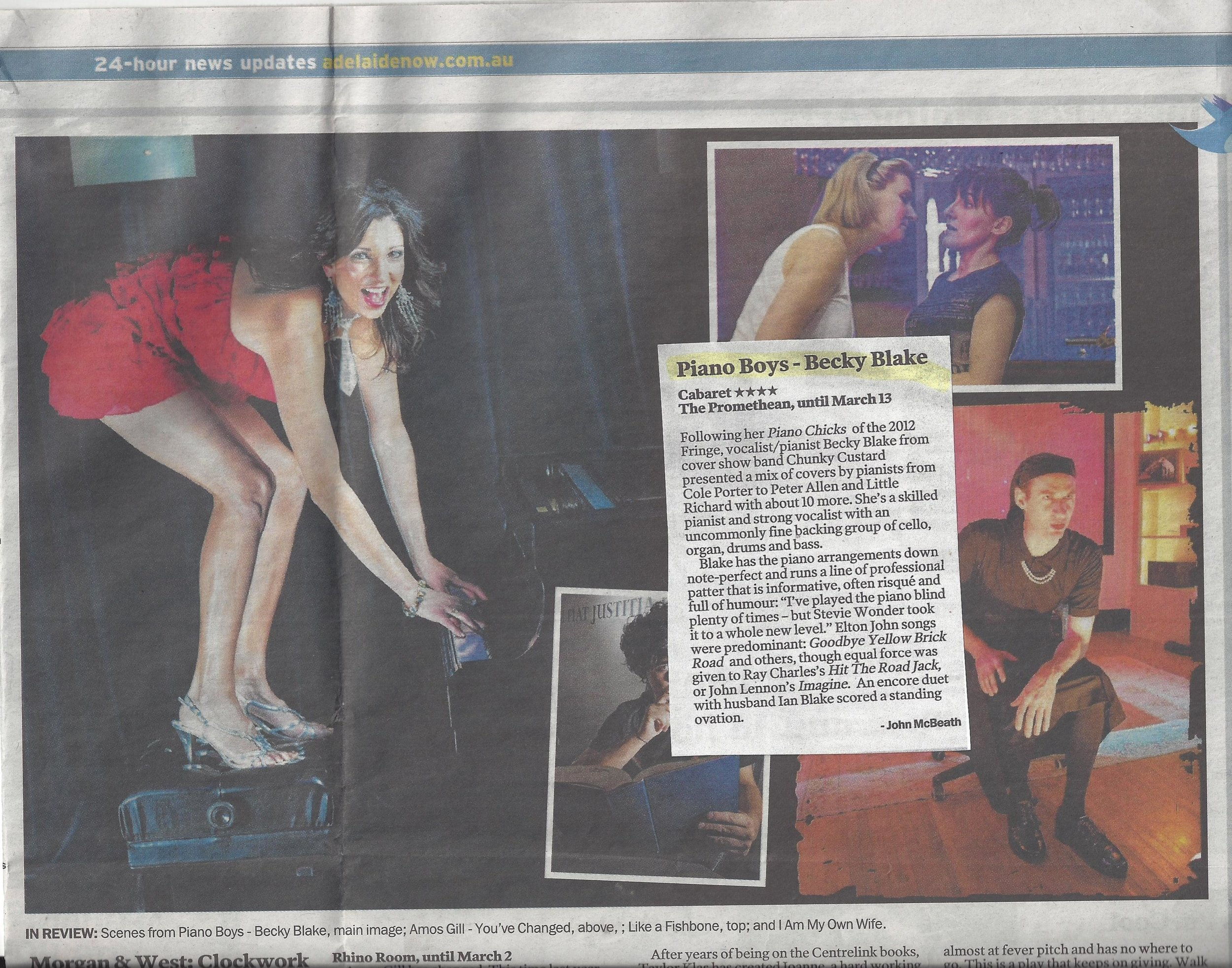 Piano Boys review in The Advertiser, March 2013