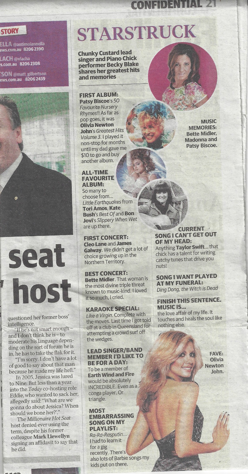 """""""Starstruck"""" Interview, Adelaide Confidential in The Advertiser 11/08/15"""