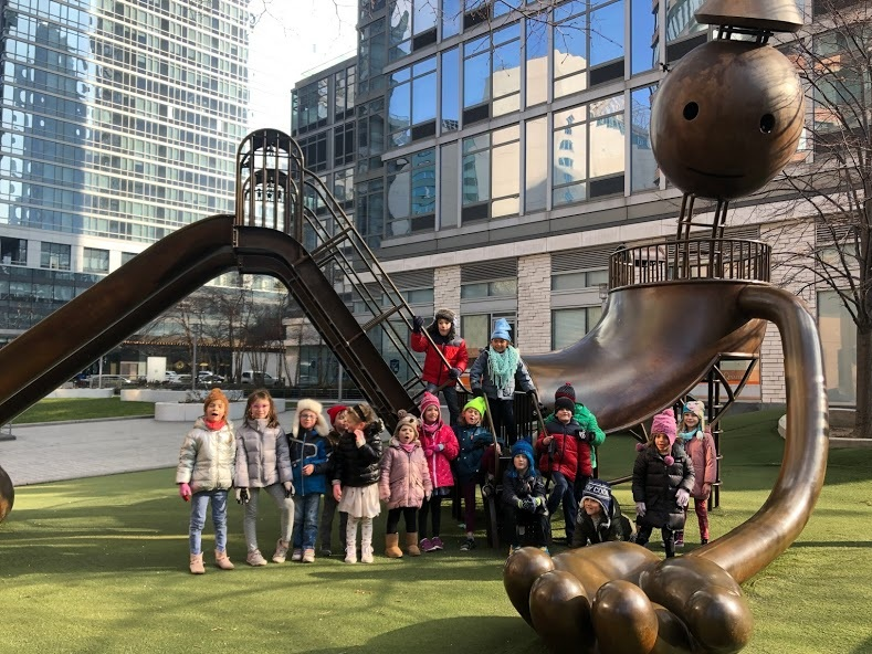 Tom Otterness playground  Emily and Lissy did some major leg work to get contacts and line up interviews for the children but expressed how generally excited professionals are to talk to the class about their work.  Playgrounds aren't all about playing.  Thank you Emily and Lissy!  By Sherika C.