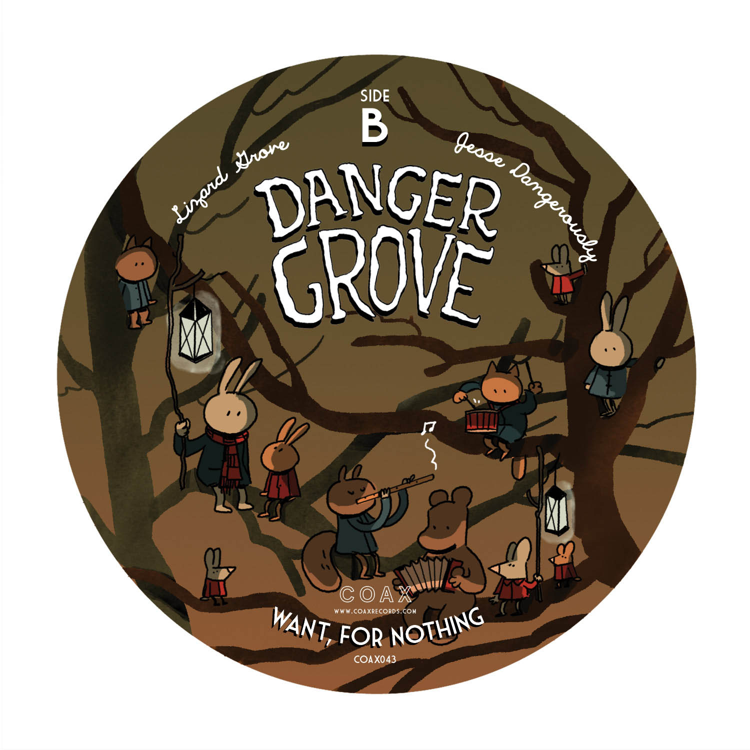 Label for Danger Grove record release