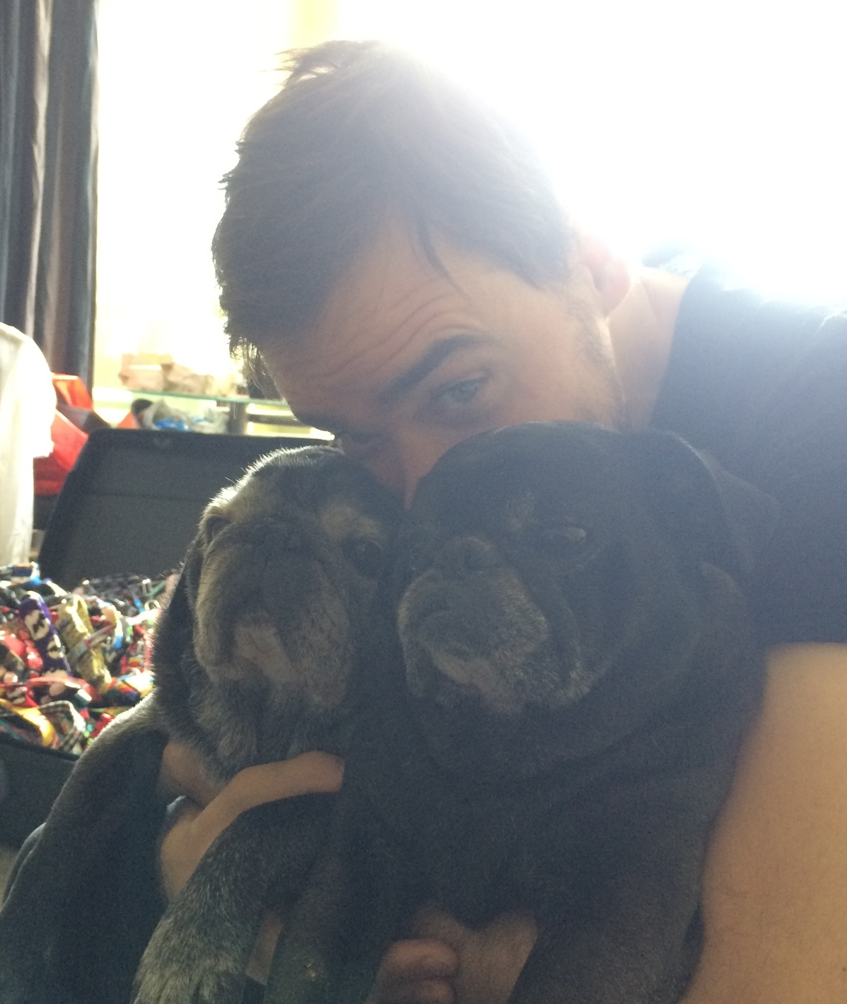 I would nominate my husband, Matt, who is amazing pug dad! He has such a big heart and always wants to snuggle our puglets, even when they are too tired to reciprocate the love (see above!).  He is a big supporter of rescue pets, and If he had his way I think we'd have a small farm of  rescued creatures!!  I love when when the dogs do something he thinks is cute and he has to grit his teeth to bare the cuteness!!!!