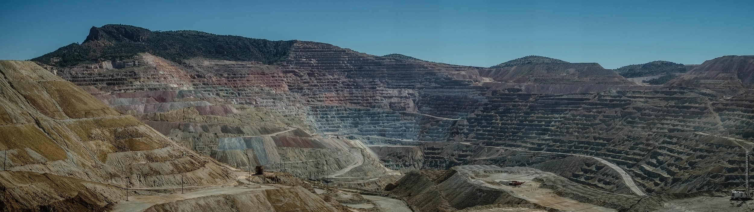 A view of the Chino Mine from N.M. 152 about 12 miles east of Silver City. The open-pit copper mine, among the world's largest, is a mile-and-a-half wide and 1,500 feet deep. (Roberto E. Rosales/Albuquerque Journal)